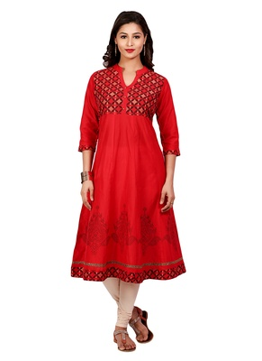 Red golden_print cotton_poly stitched kurti