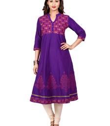 Buy Purple golden_print cotton_poly stitched kurti kurtas-and-kurtis online