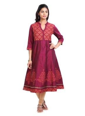 Maroon golden_print cotton_poly stitched kurti