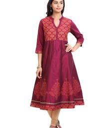 Maroon golden_print cotton_poly stitched kurti