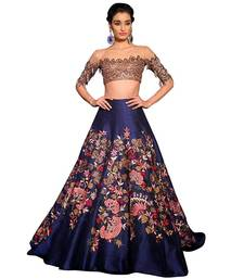 Buy Navy blue embroidered silk unstitched lehenga with dupatta lehenga-below-2000 online