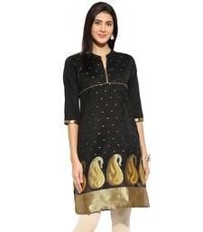 Black chanderi Chanderi stitched kurti