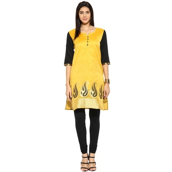Yellow chanderi Chanderi stitched kurti