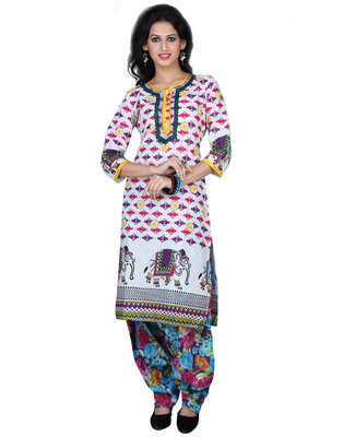 Off-white Cotton Printed Casual and Party Kurti