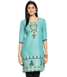 Buy Blue floral_print Cotton stitched kurti wedding-season-sale online