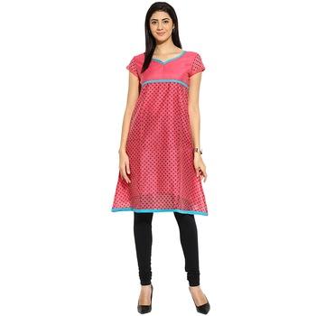 Pink dots_print Chanderi stitched kurti
