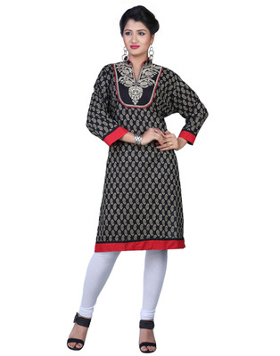 Black Cotton Printed Casual and Party Kurti