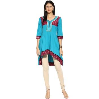 Blue sequins_work cotton stitched kurti