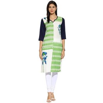 White floral_print Rayon stitched kurti