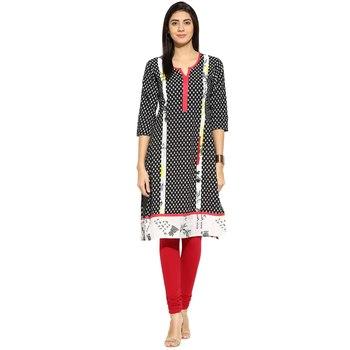 Black abstract_print Rayon stitched kurti