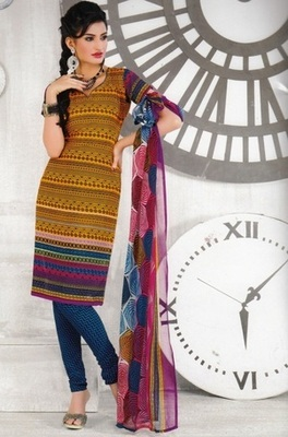 Beautiful Mustard Printed Crepe Unstitched Dress Material D.No AN7009