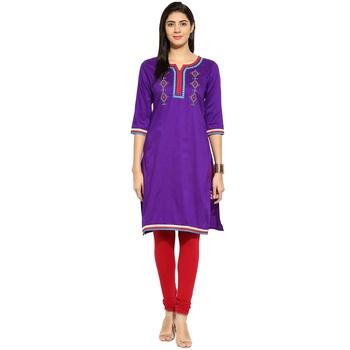 Purple thread_work cotton_poly stitched kurti