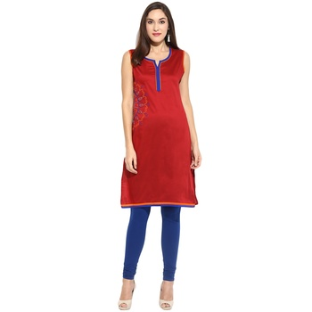Maroon thread_work cotton_poly stitched kurti