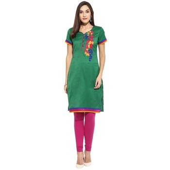 Green thread_work cotton_poly stitched kurti