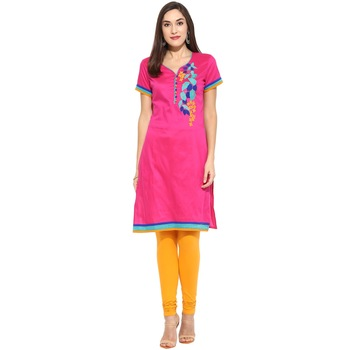 Pink thread_work cotton_poly stitched kurti