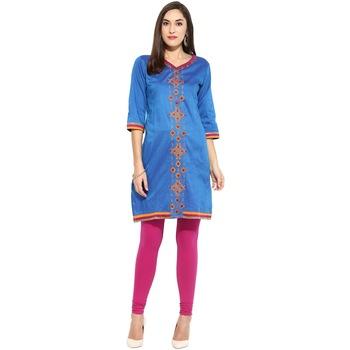 Blue thread_work cotton_poly stitched kurti