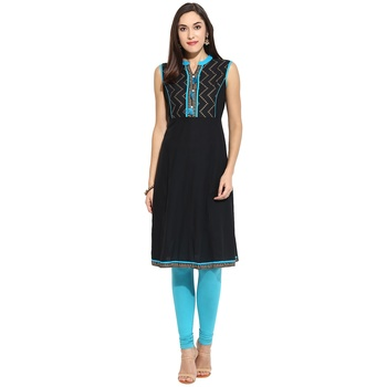 Blue abstract_print Cotton stitched kurti