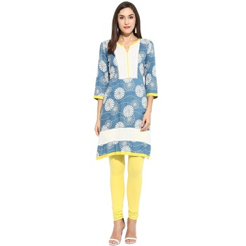 Blue geometric_print Rayon stitched kurti