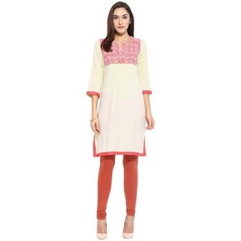 Pink thread_work Rayon stitched kurti