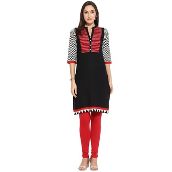 Black thread_work Cotton stitched kurti