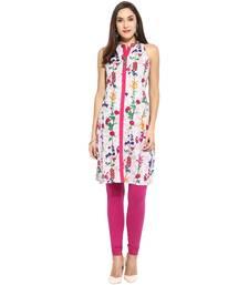 Pink floral_print Cotton stitched kurti