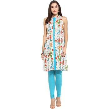 Blue floral_print Cotton stitched kurti