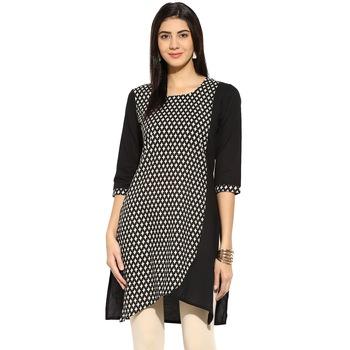 Black abstract_print Cotton stitched kurti
