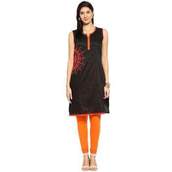 Black thread_work cotton_poly stitched kurti