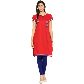 Red thread_work cotton_poly stitched kurti
