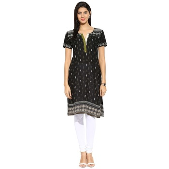 Black abstract_print cotton stitched kurti