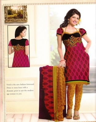 Fabulous Maroon Printed Crepe Unstitched Dress Material D.No BB203