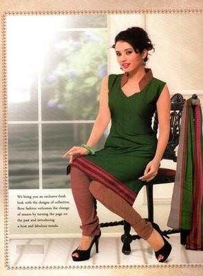 Dazzling Green Printed Crepe Unstitched Dress Material D.No BB215