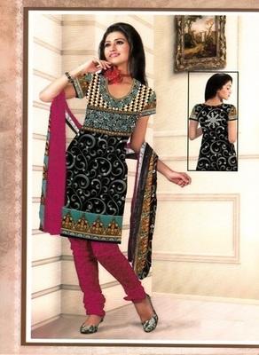 Fabulous Black Printed Crepe Unstitched Dress Material D.No BB218