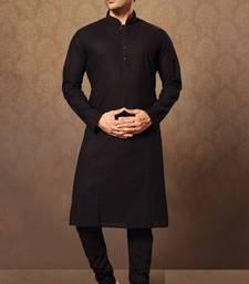 Buy black cotton and poly embroidered kurta pajama kurta-pajama online