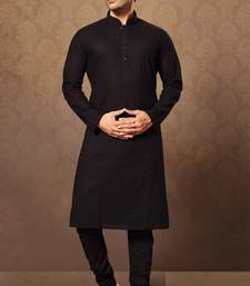 black cotton and poly embroidered kurta pajama