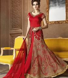 Buy Red embroidered banarasi silk salwar with dupatta wedding-season-sale online