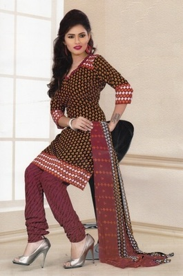 Fabulous Brown Printed Crepe Unstitched Dress Material D.No LA4515