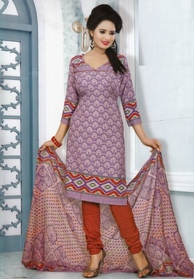 Dazzling Purple Printed Crepe Unstitched Dress Material D.No MP7421