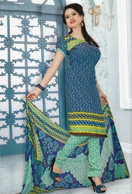 Fabulous Blue Printed Crepe Unstitched Dress Material D.No MP7424