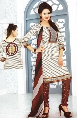 Dazzling White Printed Crepe Unstitched Dress Material D.No MP7426
