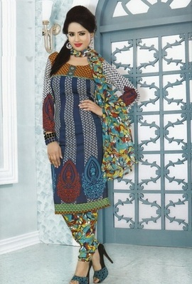 Beautiful Multi Color Printed Crepe Unstitched Dress Material D.No MP7432