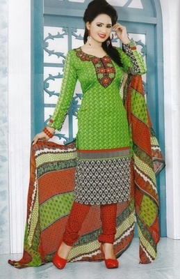 Dazzling Green Printed Crepe Unstitched Dress Material D.No MP7436