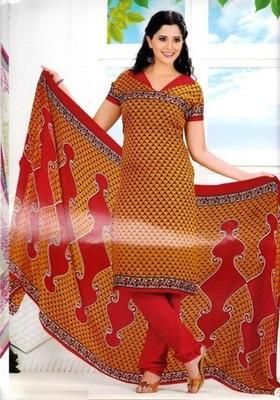 Radiant Orange Printed Crepe Unstitched Dress Material D.No RR3404