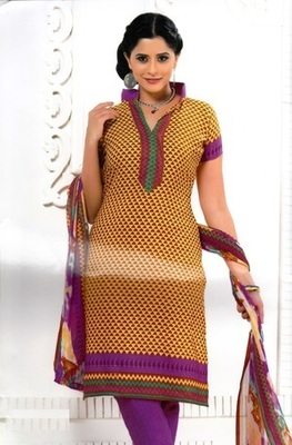 Beautiful Mustard Printed Crepe Unstitched Dress Material D.No RR3406