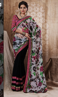 Half Printed Georgette Saree Along With Designer Blouse.