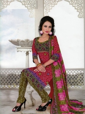 Dazzling Pink Printed Crepe Unstitched Dress Material D.No SA8009