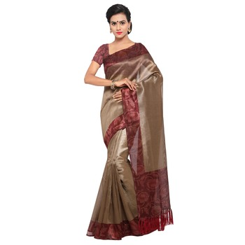 450cdd9436 Beige plain semi tussar silk saree with blouse - Rajnandini - 2172515