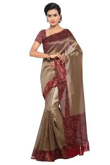 7283ab3dd666a Beige plain semi tussar silk saree with blouse