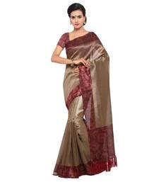 Beige plain  semi tussar silk saree with blouse great-indian-saree-festival