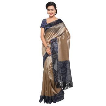 Beige plain semi  tussar silk saree with blouse